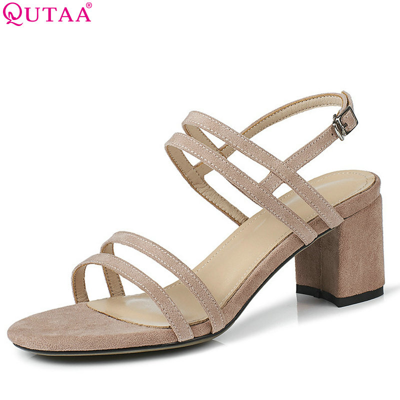 QUTAA 2018 Women Sandals Square High Heel Fahsion Women Shoes All Match Round Toe Simple Casual Women Sandals Size 34-43 qutaa 2018 women sandals pu leather fashion square high heel women shoes casual black square toe ladies sandals size 34 42