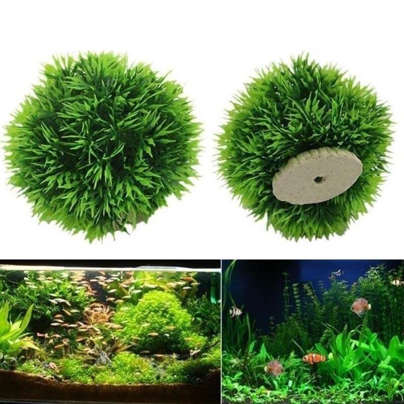 Искусственные водные пластиковые растения, аквариумная трава, шар, аквариумный орнамент, Декор