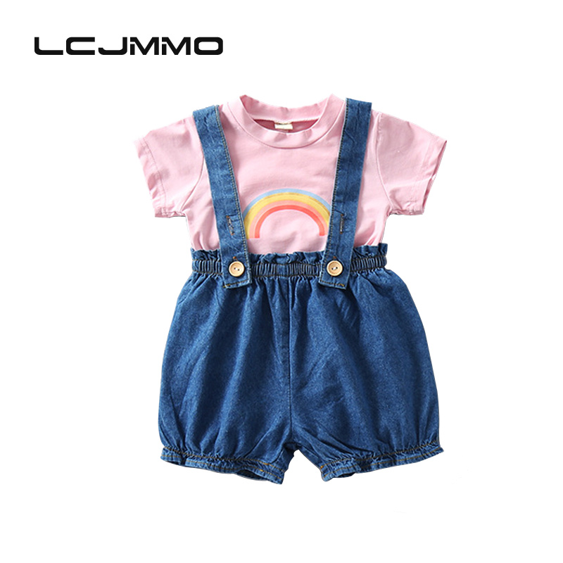 LCJMMO Toddler Baby Clothing Sets Summer 2017 Kids Girls Clothes Cartoon Fashion T-shirt+Suspender Jeans Shorts Baby Girl Suit t shirt tops shorts striped 2pcs set girl clothing summer beach outfits clothes toddler kids baby girls sets 2pcs