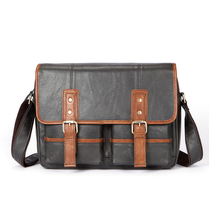 Fashion Latest Cover Calfskin Men Messenger Bags Fashion Three-dimensional Design Genuine Leather Men's Shoulder Bags fashion men s messenger bag with color block and cover design