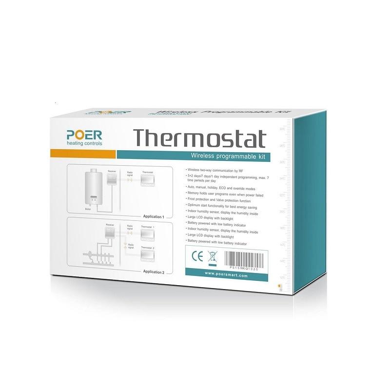 Termostatas grindų šildymui Belaidis katilo temperatūros - Matavimo prietaisai - Nuotrauka 5