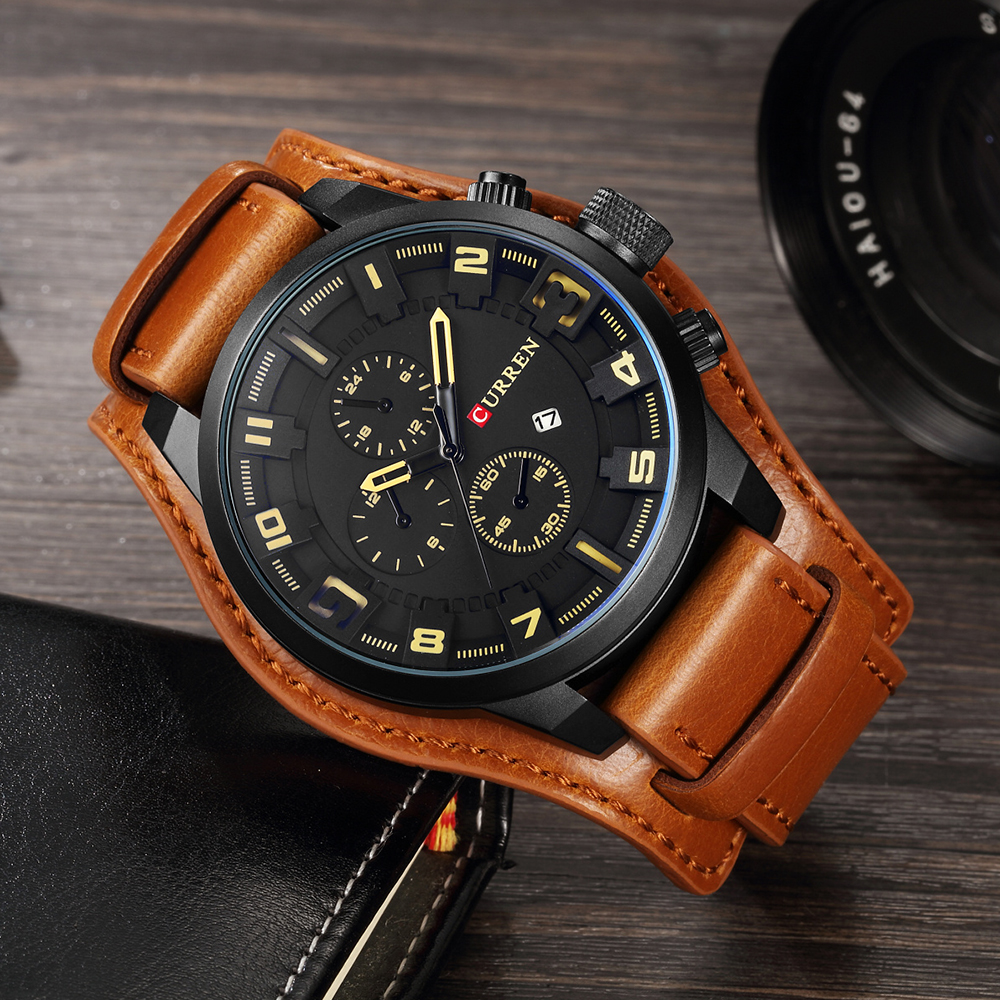 HTB1wAvAOXzqK1RjSZFvq6AB7VXan CURREN Top Brand Luxury Men Watches Male Fashion & Casual Sport Military Clock Leather Strap Quartz Business Men Watch Gift 8225