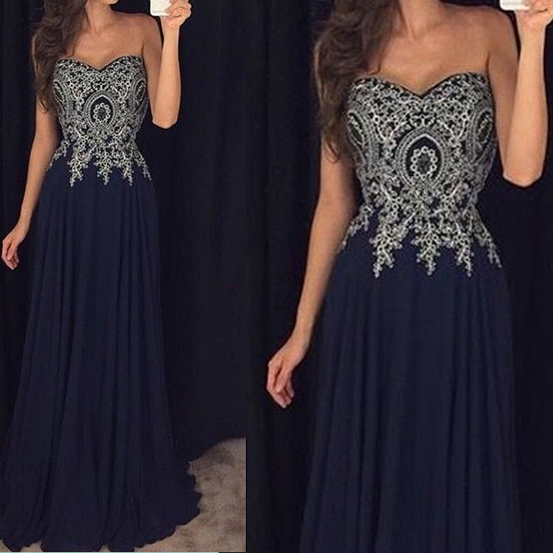 2018 Sexy Sweetheart A-line Bridesmaid Dresses Navy Blue Appliques African Bridal Prom Dress Party Gowns Maid Of Honor Dress