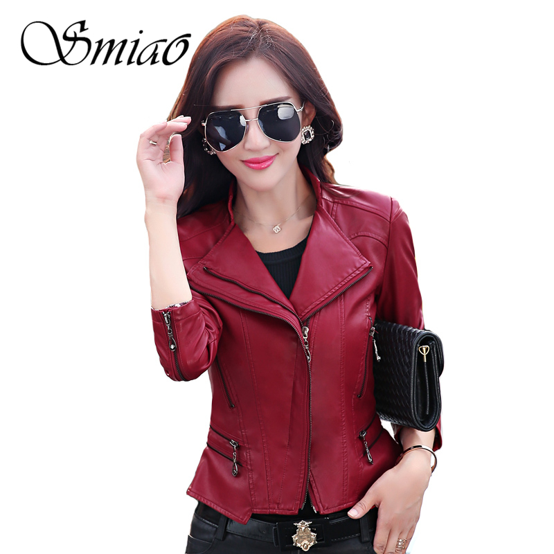 New Arrival 2019 Brand Spring Motorcycle   Leather   Jackets Plus Size 5XL Black Red Slim Faux   Leather   Jacket Women PU   Leather   Coat