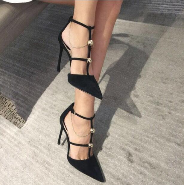 Sexy Pointed Toe Strap Women Pumps 2017 Summer New Thin High Heels Wedding Shoes Woman Black Leather Gladiator Sandals Women bowknot pointed toe women pumps flock leather woman thin high heels wedding shoes 2017 new fashion shoes plus size 41 42