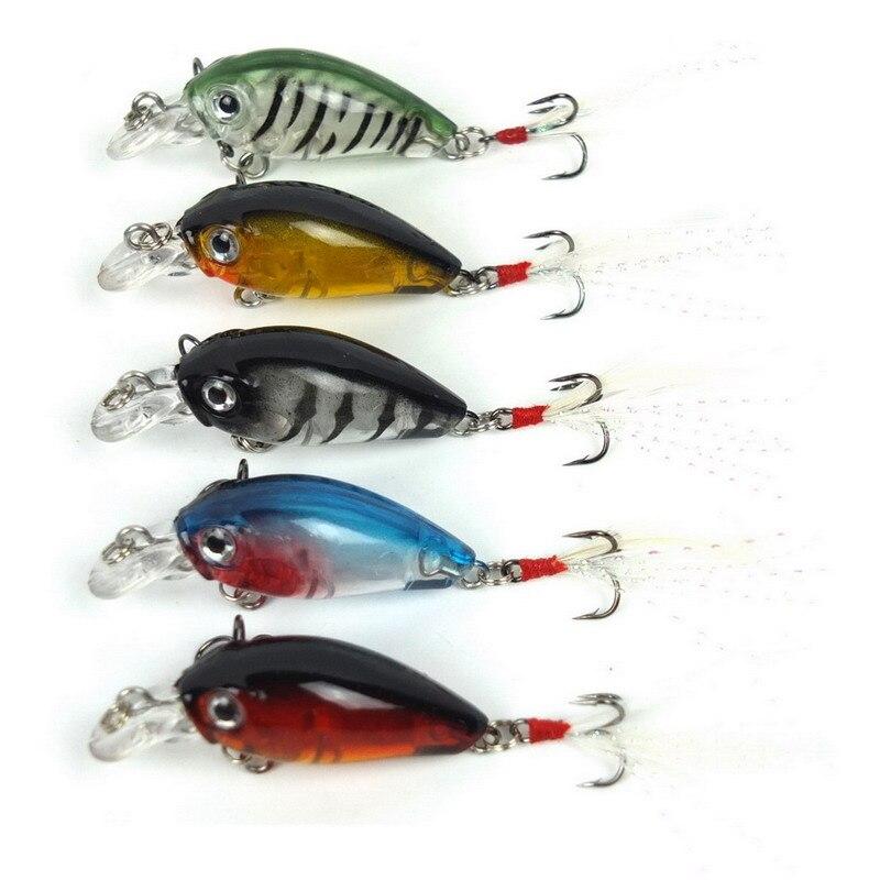 5PCs 3.6cm 4g Fishing Lures Crank Baits Mini Crankbait 3D