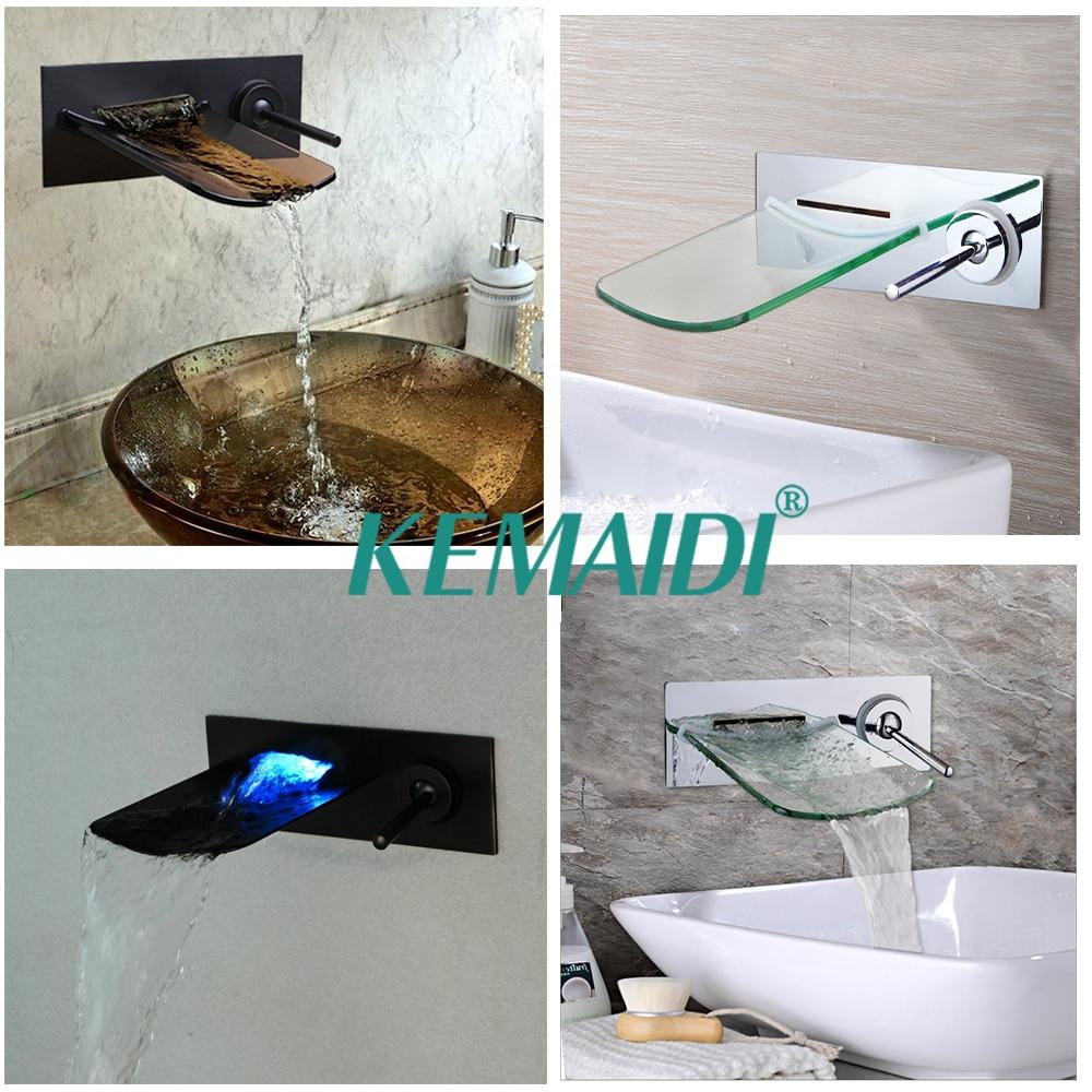 KEMAIDI Bathroom Bathtub LED Wall Mounted Black Chrome Brushed Nickel Brass Mixer Waterfall Faucet Basin Sink Tap nickel brushed wall mounted solid brass bathroom sink tub faucet led waterfall spout mixer tap