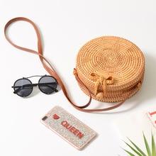 Women Handmade Rattan Bag Woven Round Straw Shoulder Bag
