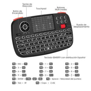 Image 5 - Rii i4 ספרדית מיני מקלדת Bluetooth 2.4G הכפול מצבי כף יד שחיף עם תאורה אחורית עכבר Touchpad שלט רחוק עבור מחשב אנדרואיד