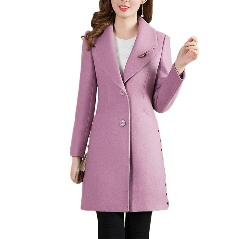 Rivestimento Lungo Del Plus Slim Alta Primavera Pink 297 Monopetto peacock Di Purple Donne Autunno Blue Size Lana Cappotto Cappotti Coreano Giacca Delle Qualità gwd0Pv