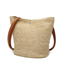 DAUNAVIA Fashionable Straw Woven Women Bags Natural Simple Solid Color Wild Single Shoulder Bags Outdoor Ladies Bucket Beach Tot