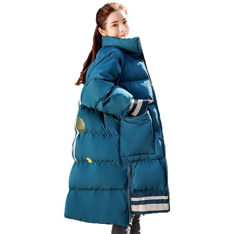 Casual Print Loose Plus Size Cotton Padded Coat Female   Parka   Korean Stand Collar Outerwear Winter Jacket Women Clothes C10