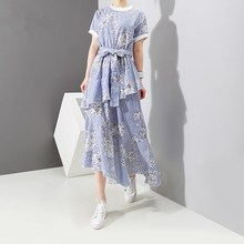 2019 New Women Blue Striped Floral Print Dress Short Sleeve With Belt Casual Dress Girls Cute Ruffles Summer Dress flamingo print striped box pleated dress with belt