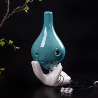 Classic Mini 6 Holes Ocarina Color Musical Instrument Glaze Ceramic Flute Chinese Ceramic For Children Music Lover Gift