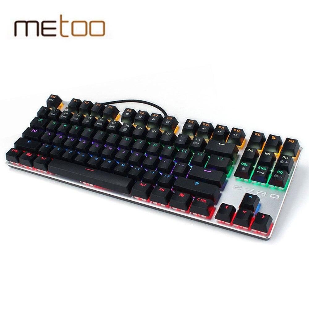 Metoo Zero Mechanical Gaming keyboard Wired Backlit teclado 104/87 Key Backlight Blue Switch Russian Sticker for Overwatch Gamer