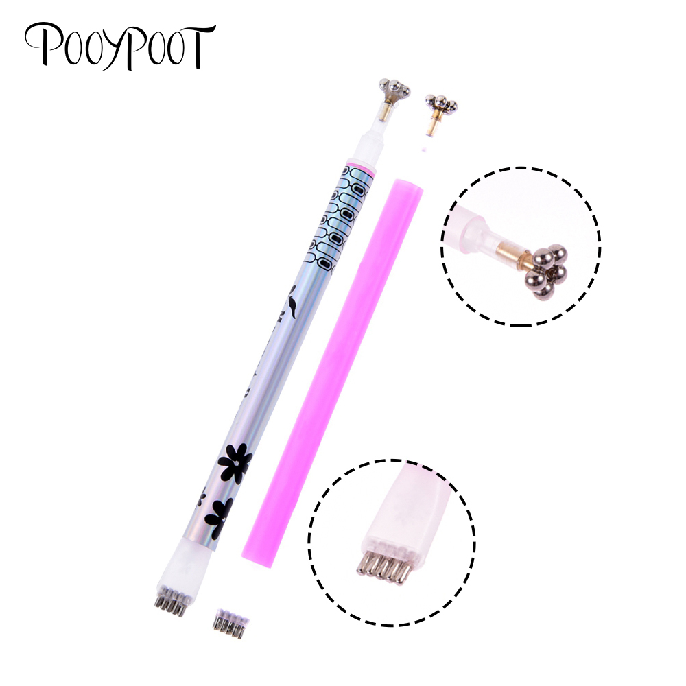 Pooypoot Cat Eyes Magnet Stick Double Headed Strong Nail Art Magnetic Pen Nail Gel Polish 3D Line Strip Effect Nail Magnet Tools