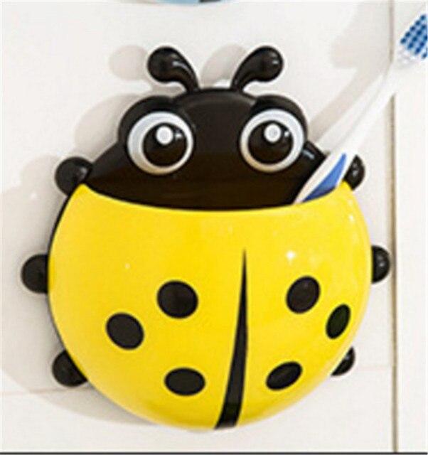 Cute Cartoon Ladybug Sucker Toothbrush Holder Suction Hooks Household Items Bathroom Toothbrush Rack Bathroom Accessories