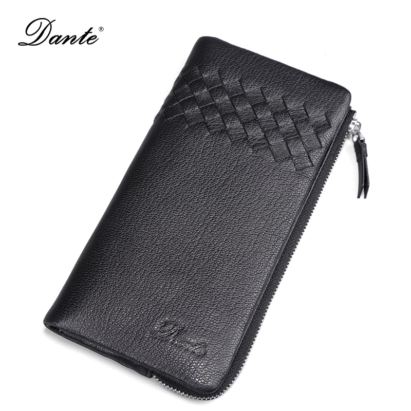 DANTE British Weave Style Soft Sheepskin Men Wallets Genuine Leather Business Card Holder Long Mens Wallet Clutch Purse QB4010 рюкзак wenger sport 3181303408