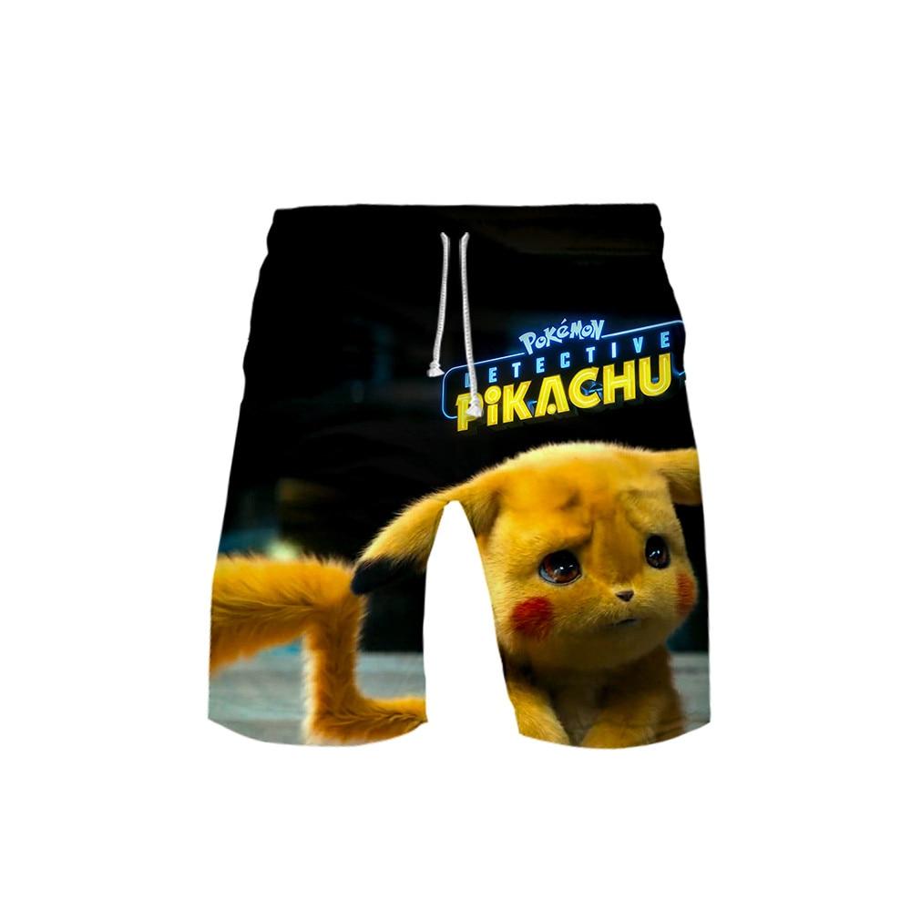 3D Pokemon Pikachu Mens Swimwear Swim Shorts Trunks Beach Board Shorts Swimming Short Pants Swimsuits Mens Sports Shorts Male