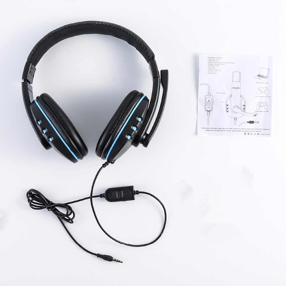 SOONHUA Ergonomic Soft Pad Earphone Gaming Headset  Super Low Bass Headphone With 3.5mm Plug HD Microphone For PS4 Smartphone PC