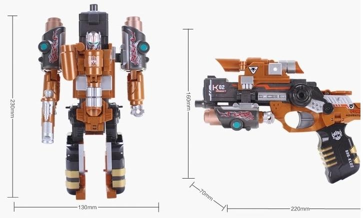 Tiger gun Deformation Toys alloy armor burst robot capable deformed children soft metal pistol bullet firing - Song jia shop store