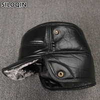 SILOQIN Men's Winter Hats Genuine Leather Plus Velvet Thick Fur Warm Sheepskin Military Hat With Ears Windproof Dad's Flat Caps