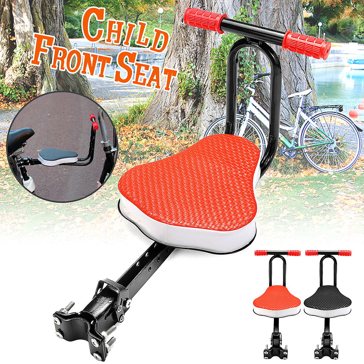 Children Bicycle Seat Quick Release Seat Bike Saddle for Kids Safety Seat with Armrest And Pedal Bike Accessories 12 14 16 kids bike children bicycle for 2 8 years boy grils ride kids bicycle with pedal toys children bike colorful adult
