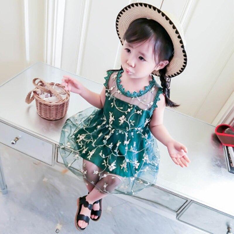 Sukienka dziewczęca 2018 Nowa letnia siatkowa odzież dziewczęca - Ubrania dziecięce - Zdjęcie 3