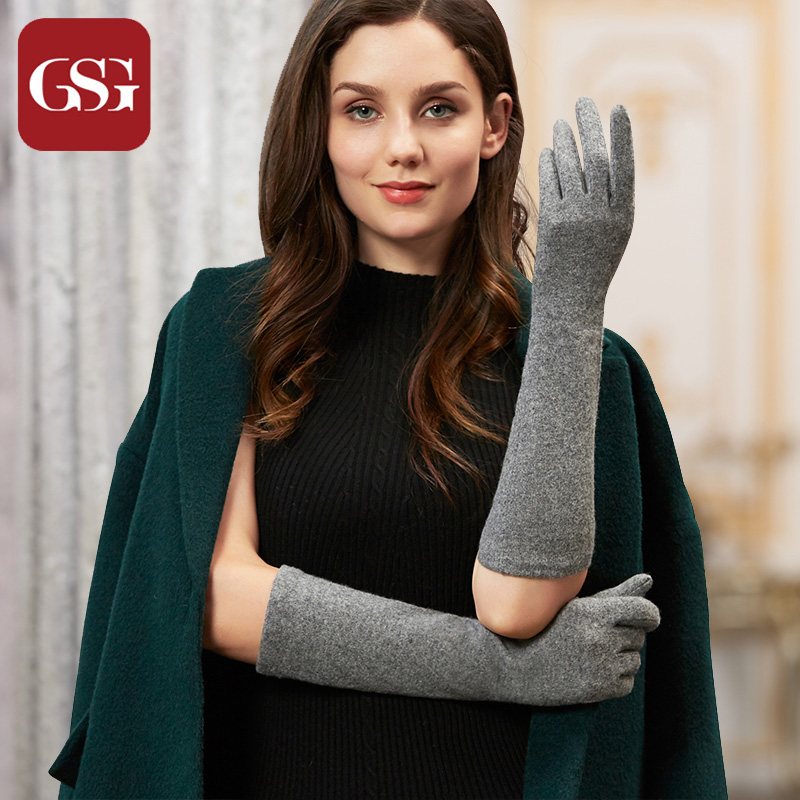 GSG Womens Womens Long Wool Gloves Winter Touch Screen Warm Knitted Gloves Negro Brown Ladies codo Opera Longitud de lana de punto Guantes