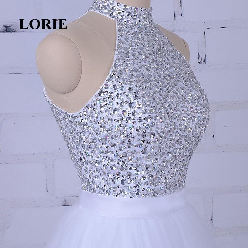 LORIE Hvit Prom Dress For Graduation Halter A-Line Beaded Krystaller - Spesielle anledninger kjoler - Bilde 3