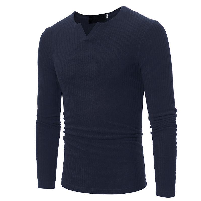 Sweater Pullover Men 2018 Male Brand Casual Slim Sweaters Men Soild Color Horizontal Stripes Hedging V -Neck Men S Sweater