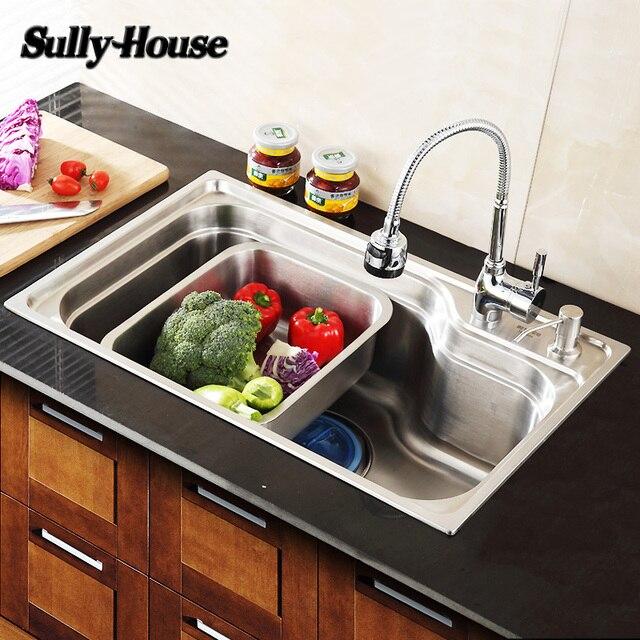 Sully Rumah Disikat 304 Stainless Steel Kitchen Sink Fregadero Tumpul Gi Panjang Mangkuk Tunggal Tangki Air