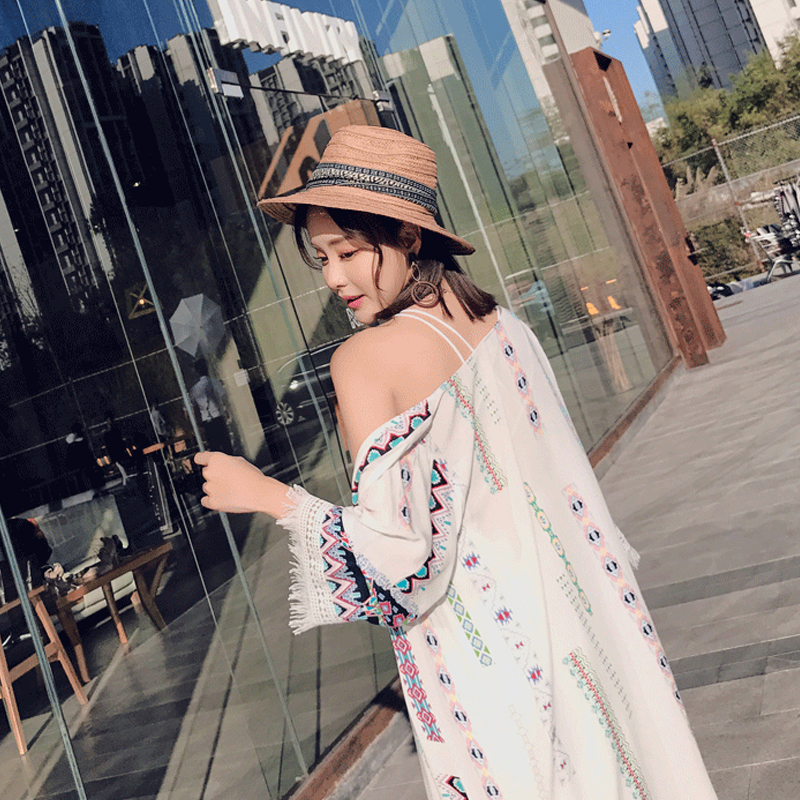 Bohemian style 2018 fashion three quarter flare sleeve summer pure color patchwork embroidery floral print tassel chiffon shirts 21
