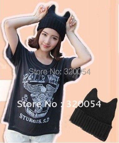 2016 New Fashion Soft Cute Women Girl Warm Winter Cat Ear Shape Knitted Hat Elastic Beanie Cap Christmas Gift
