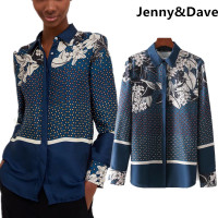 Jenny Dave Blouse Womens Tops And Blouses England Style Positioning Printing Floral Fashion Kimono Shirt Blouse