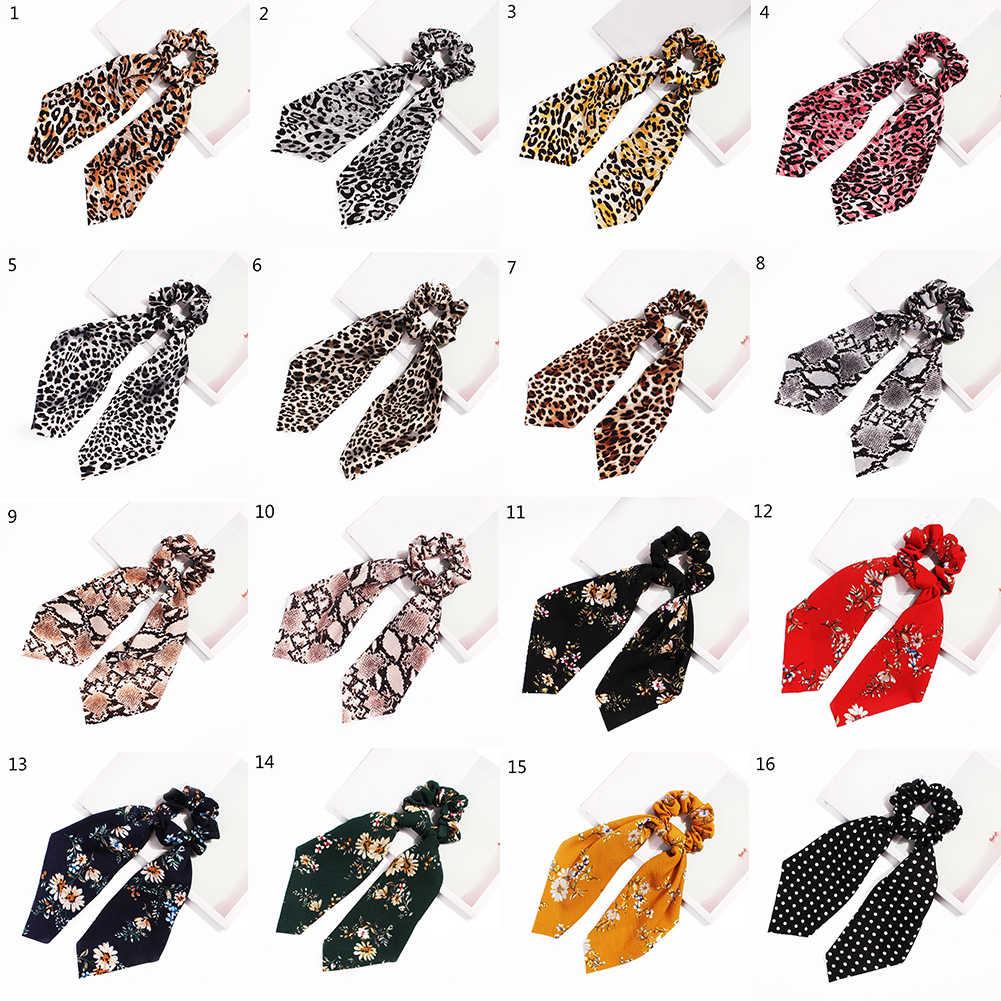 2019 nouveau léopard serpent Floral Dot banderoles chouchous femmes cheveux écharpe élastique arc cheveux corde ruban bande filles cheveux accessoires