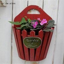 Medio cubo redondo madera listón vintage shabby chic flor para colgar en pared olla