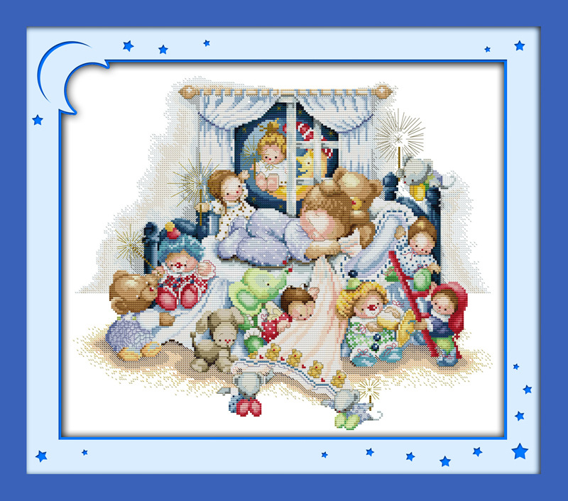 Thumbelina girls Printed Canvas DMC Counted Cross Stitch հանդերձանքներ