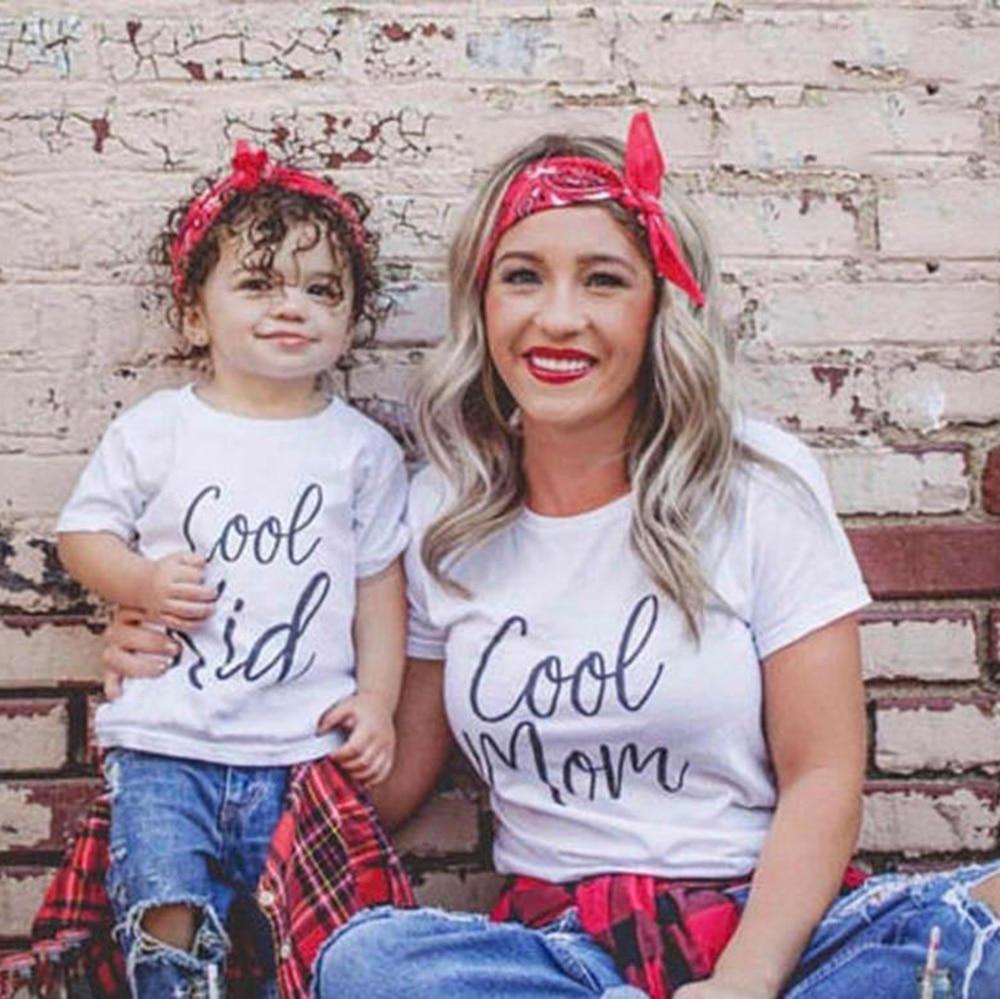 'cool Mom' & 'cool Kid' Passenden Mom & Kind Kurzarm Shirts Mama Und Mich Kurzarm Briefe Drucken Tops Kleidung Outfits üPpiges Design