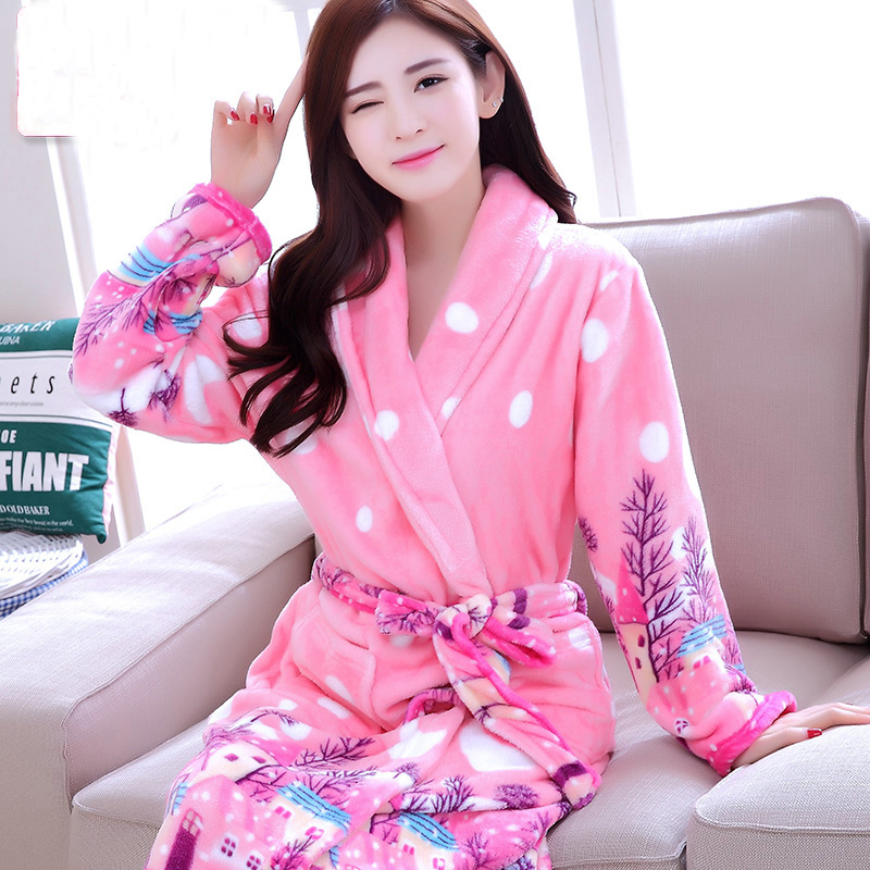 cbeea4890e New Women Coral Fleece Robe Sex Sleepwear Winter Autumn Warm Bathrobe  Nightgown Kimono Dressing Gown Robe For Lady