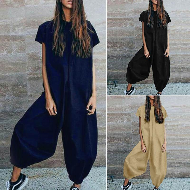 New Style Fashion   Jumpsuits   Women Casual Lantern Pants Playsuits Plus Size Ladies Solid Long Combinaison Rompers Long Mono