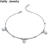 Valily Women Foot Bracelet 100% Authentic 925 Silver Sterling Anklets Bracelet for Foot for Ladies Fashion Heart Charm Bracelets
