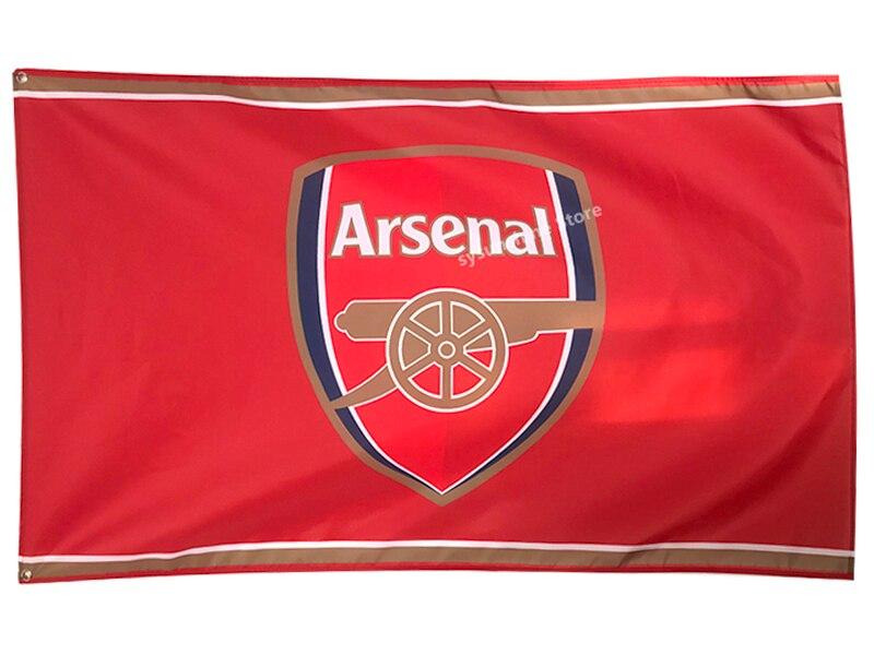 Hadiah terbaik sepak bola gaya baru Arsenal Football Taille 3ft * 5ft 90*150 cm drapeau sport personnalisée équipe drapeaux bannière