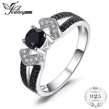 JewelryPalace Elegant 0.8ct Natural Black Spinel Wedding Bands Rings For Women Genuine 925 Sterling Silver Statement Jewelry