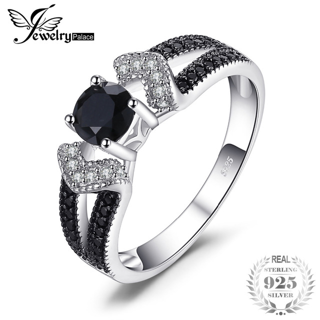 JewelryPalace Elegant Natural Black Spinel Wedding Bands Rings For Women Genuine