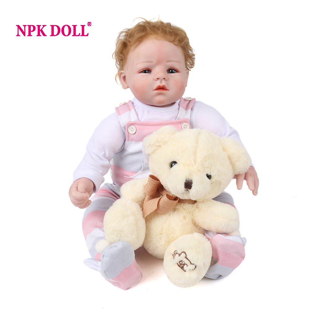 NPKDOLL 50 cm doll reborn Cute Silicone Baby Dolls Lifelike bebe reborn silicone Realistic Girls Toys Russian Doll gift for kids new npkdoll 22 55 cm handmade doll reborn lifelike soft silicone reborn baby for girls kids birthday gifts russia pink dolls