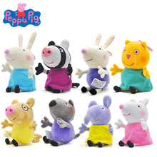 купить Original 19cm Peppa Pig 8 Friends Family Set Animal Stuffed Plush Toys Cute Cartoon Dolls Pink Pig Party Toys Kids Birthday Gift дешево