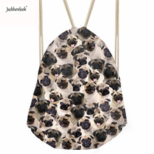 Jackherelook Schoolbags Lovely Pug Dog/Husky Print Women Drawstring Bag for Student Small Storage Shoes Cloth Bag Drop Shipping