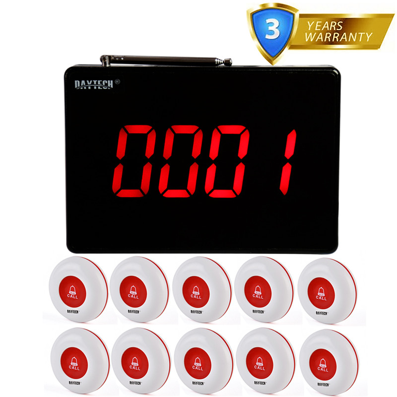 DAYTECH Restaurant Calling System Guest Queue Pager 1PCS Panel Transmitter 10 433MHZ Waterproof Call Buttons Receiver wireless service call bell system popular in restaurant ce passed 433 92mhz full equipment watch pager 1 watch 7 call button