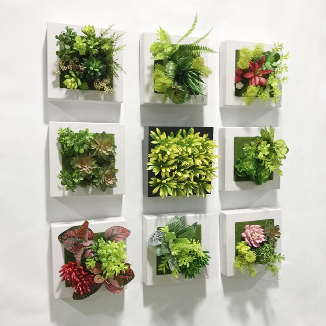 20*20cm Artificial Succulent Plants Plastic Ferns Green Grass Photo Frame  Wall Decoration Flowers Home